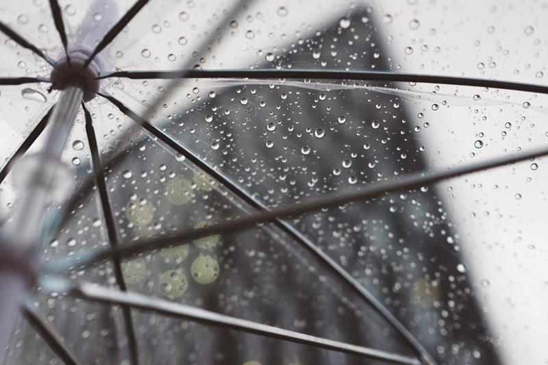 Clear Umbrella with rain drops