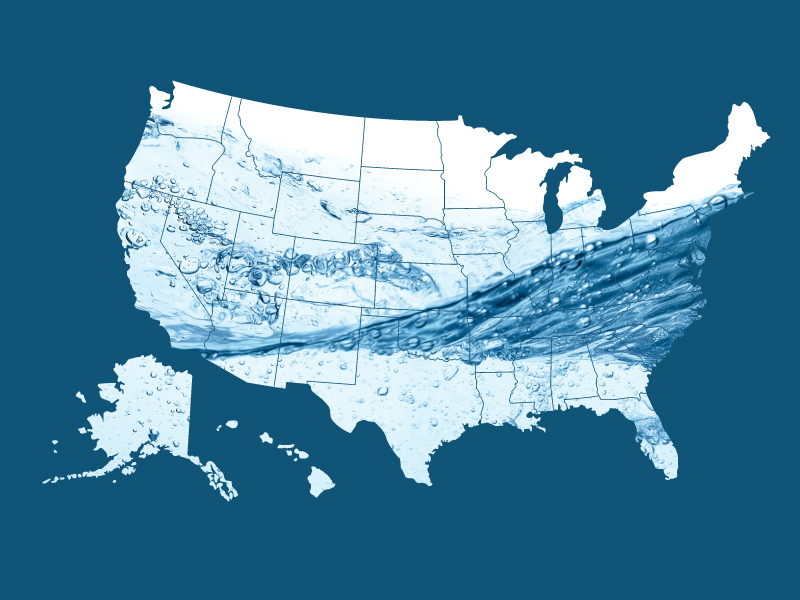 US Map filling with water