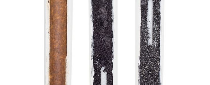 Used water cartridges in section on a white background