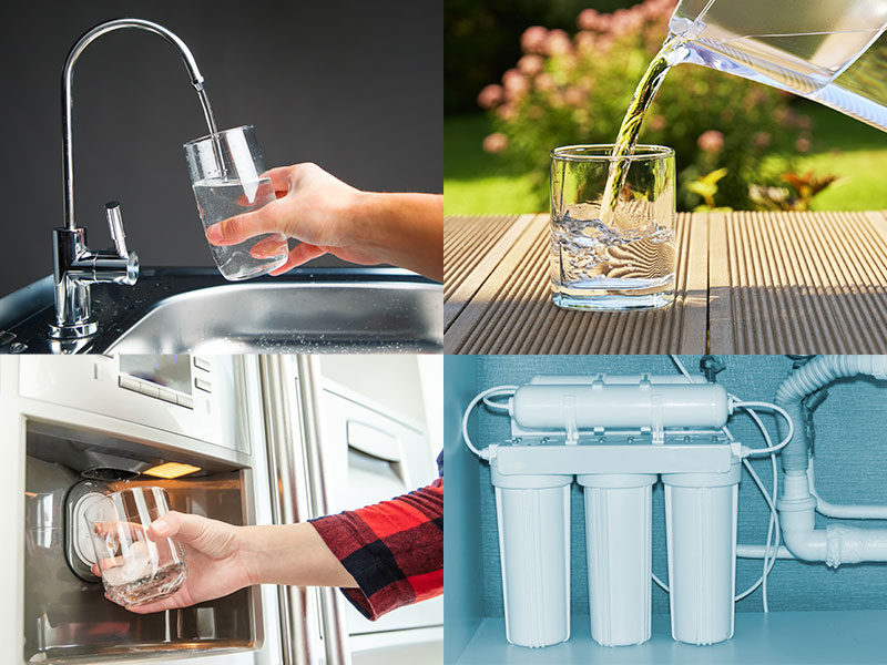 Various types of home water filters