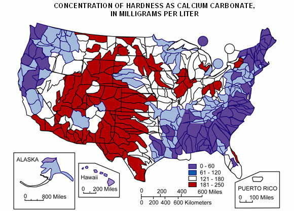 A map of approximate water hardness across the country, from the USGS (source: USGS).