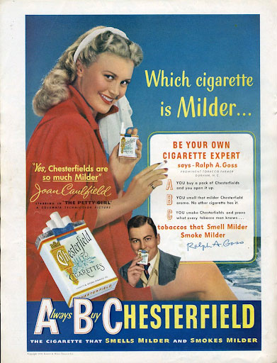 Cigarette ad from the 50s