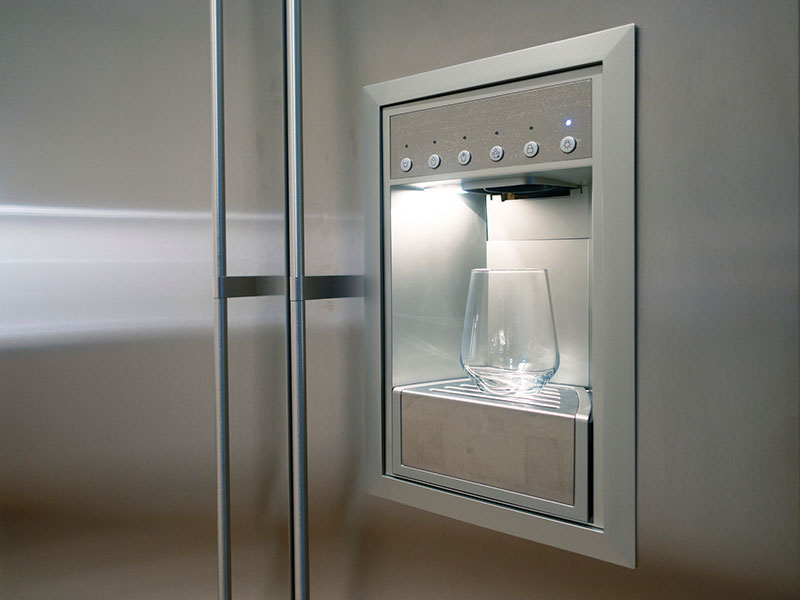 Refrigerator Ice and Water Dispenser with empty glass